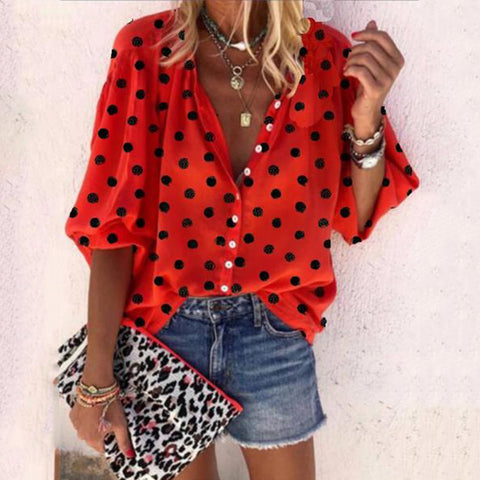 Casual Polka Dot Half Sleeve Button Shirt