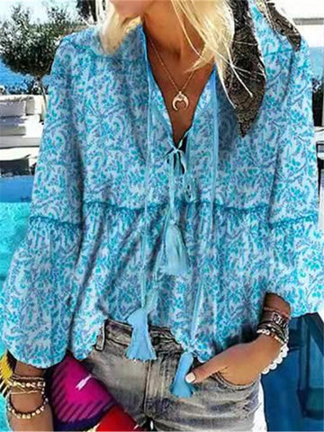 Casual Vacation Fringed Lace-up Long Sleeve Printed Shirt