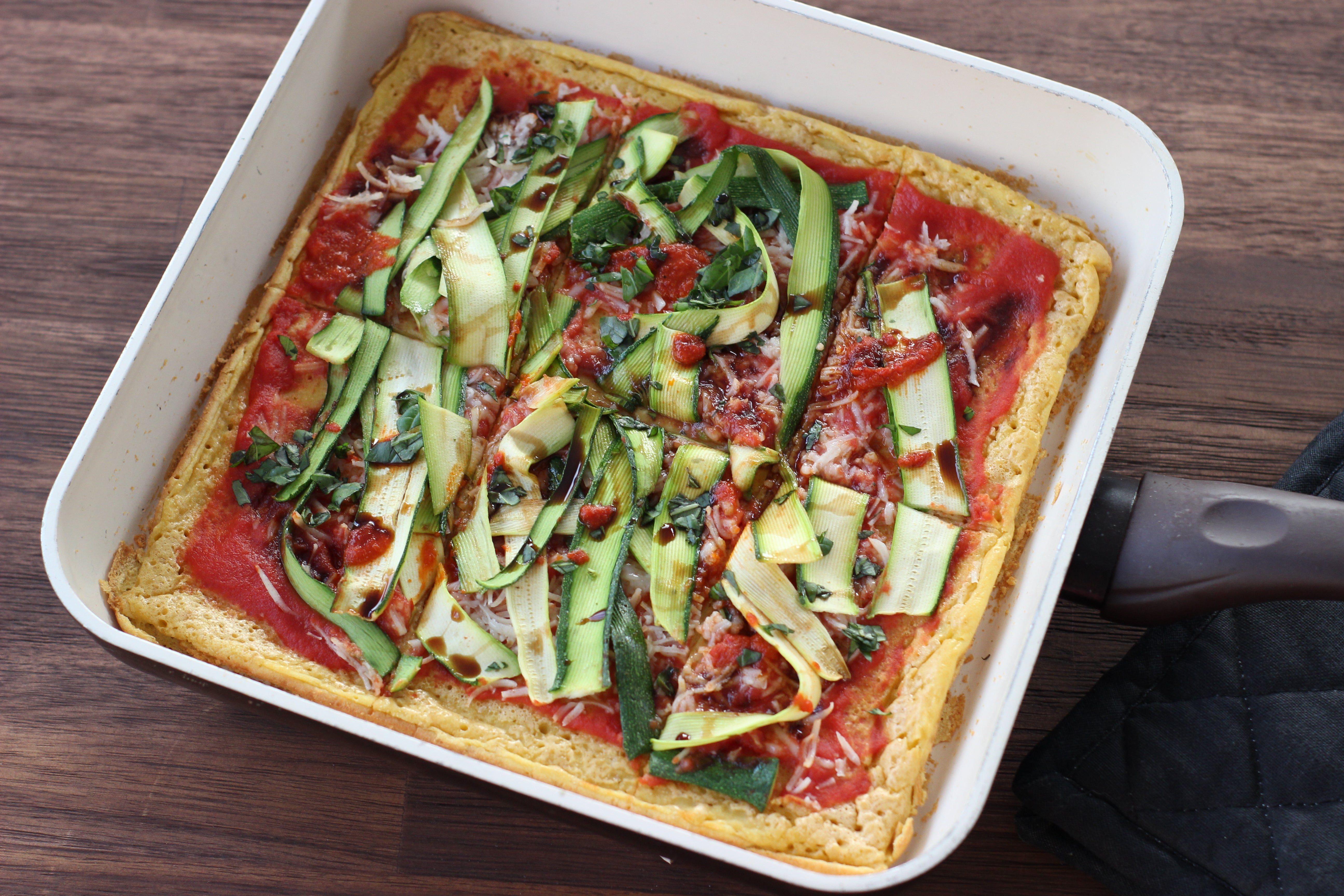 High Protein Chickpea Square Pizza Recipe With Zucchini Ribbons, Chilli Paste & Balsamic Vinegar (Gluten Free & Dairy Free)