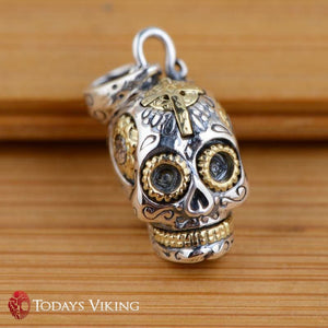 925 Sterling Silver Antique Skull Pendant