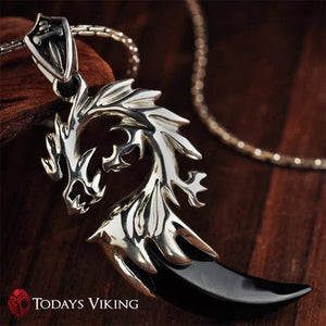 925 Sterling Silver Black Onyx Dragon Pendant