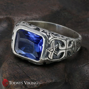 925 Sterling Silver Crystal Stone Viking Ring