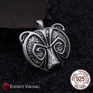 925 Sterling Silver Viking Bear Pendant Necklace