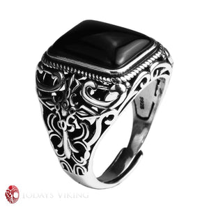 925 Sterling Silver Vintage Onyx Stone Ring
