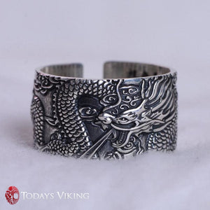 999 Pure Silver Flying Dragon Engraved Ring
