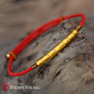 999 Sterling Silver Gold Color Handmade Thin Red String Bracelet
