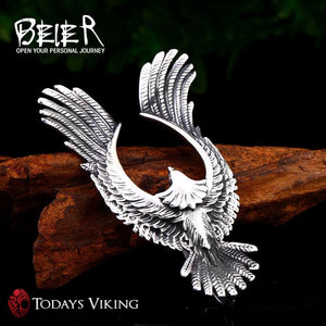Beier Stainless Steel Flying Eagle Pendant Necklace