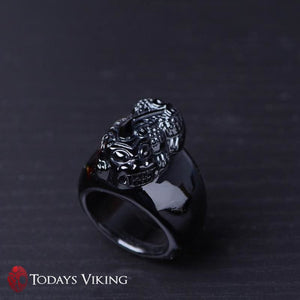 Natural Black Obsidian Stone Ring