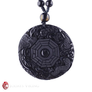 Natural Black Obsidian Viking Pendant Necklace