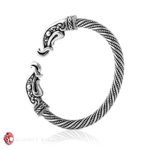 Silver Plated Pulsera Viking Cuff Bracelet - Antique Silver / China