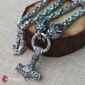 Stainless Steel Thors Hammer Mjolnir Talisman Necklace