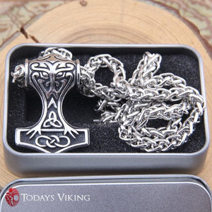 Stainless Steel Thors Hammer Pendant Necklace