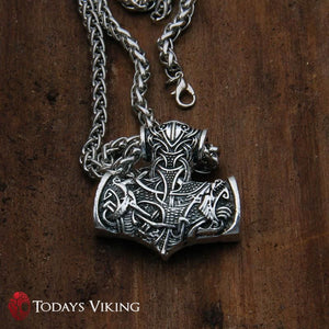 Stainless Steel Thors Hammer Wolf & Raven Necklace