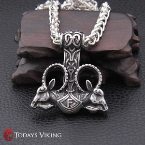 Stainless Steel Viking Goat Mjolnir Pendant Necklace