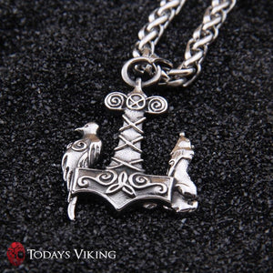 Stainless Steel Viking Wolf & Raven Mjolnir Pendant Necklace