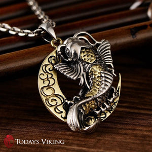 Sterling Silver Viking Moon & Fish Pendant