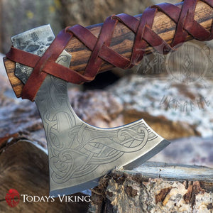 Thors Toothpick Leather Wrapped Viking Axe