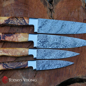 Twisted Olive Burl Damascus Chef Knives - 8 Chef only