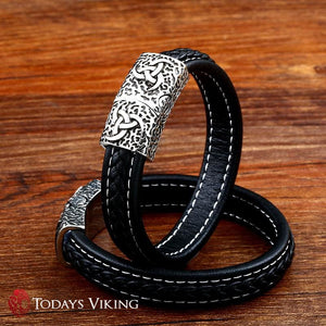 Vegvisirs Runic Leather Viking Bracelet