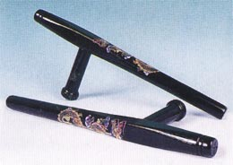 Black Tonfa with Dragon Design - 18""