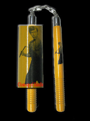 "Nunchaku Yellow Round BB 12"" Chuck w/ Commemorative Bruce Lee and Grips"