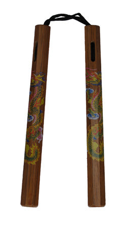 "Nunchaku Wood Cord 12"" Chuck w/ Colored Dragon"