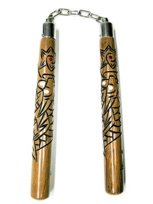 Round B.B. Nunchaku w/ Dragon Carving