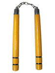 Yellow Round B.B. Nunchaku w/ Black Stripes