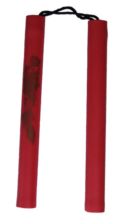 "Nunchaku: Red Rubber Cord 12"" Chuck w/ Gold Dragon"