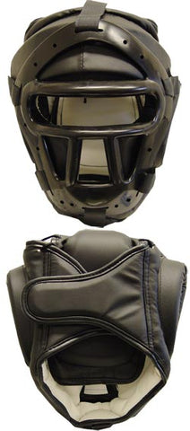 WLE Black Vinyl Sparring Headguard with Face Cage