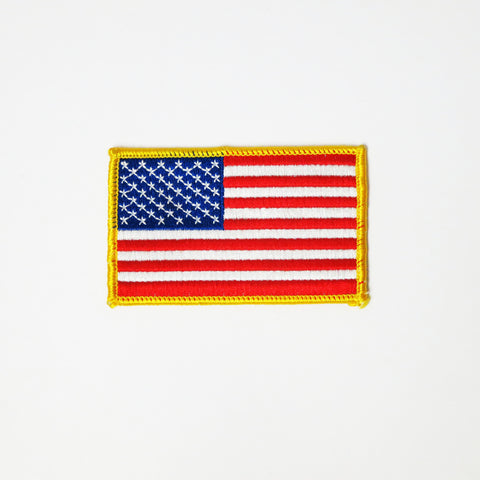 USA Flag Patch - Red White Blue with Gold Border - Embroidery Style - Cotton