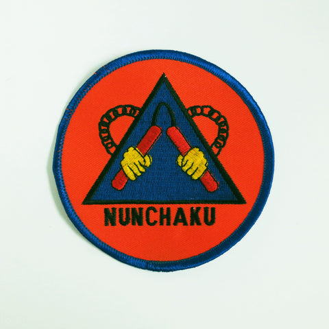 Nunchaku Patch - Red/Blue/Yellow - Embroidery Style - Cotton