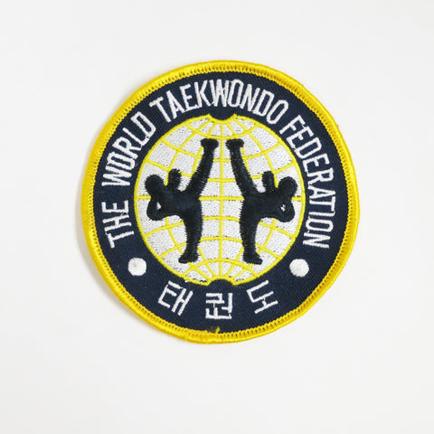 World Tae Kwon Do Federation Patch - Blue/White/Yellow - Embroidery Style - Cotton