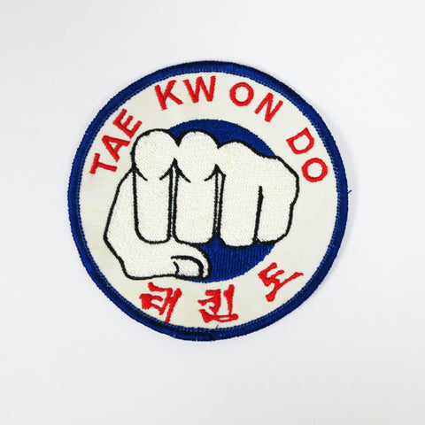 Tae Kwon Do Fist Patch - White - Embroidery Style - Cotton