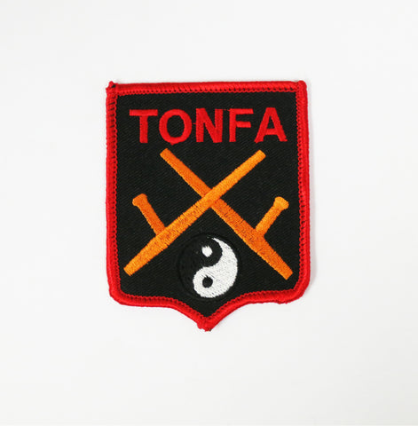 Tonfa Patch - Black - Embroidery Style - Cotton