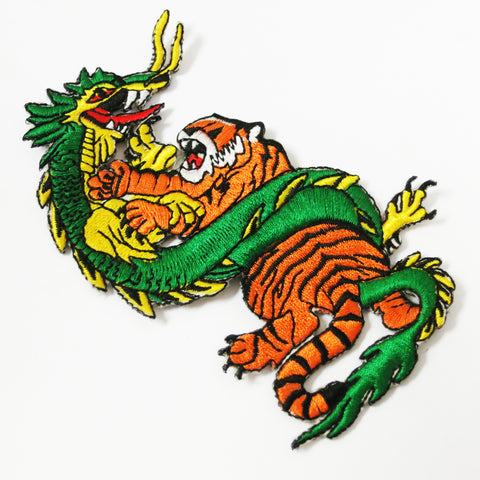 Tiger Dragon Fighting Patch - Embroidery Style - Cotton