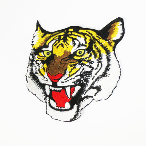 "Large Roaring Tiger Patch - 9.5"" - Embroidery Style - Cotton"