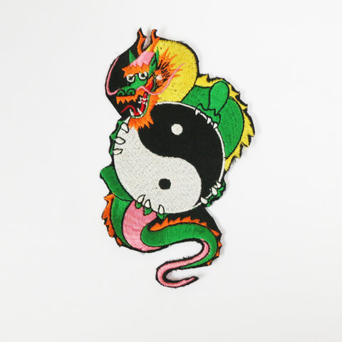 Yin Yang Dragon Patch - Embroidery Style - Cotton