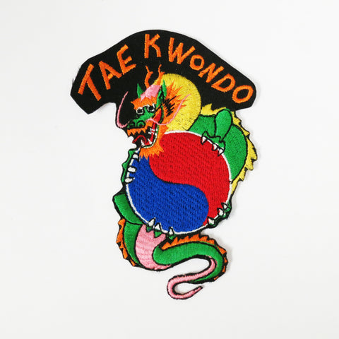 Tae Kwon Do Dragon Patch, Yin Yang (Red/Blue) - Embroidery Style - Cotton