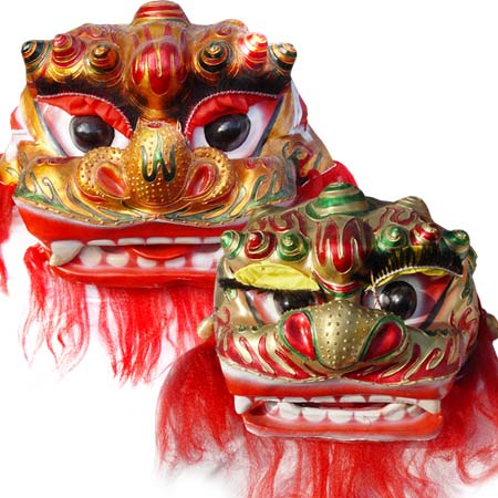 Beijing Northern Chinese Lion Dance Set - 1 Adult and 1 Child Lion Head