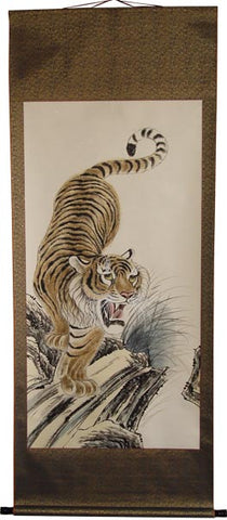 "Tiger Scroll (Down) - Hand Painted 73"" x 28"""