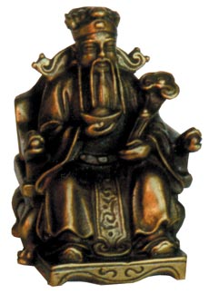 Caishen Chinese God of Wealth Statue-Solid Brass