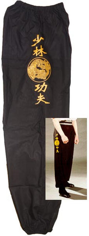 Kids Kung Fu Pants - Black with Gold Dragon Tiger Shaolin Kung Fu Emblem