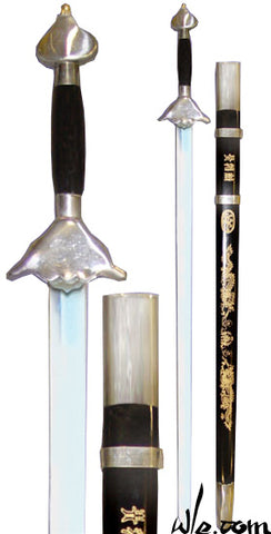 Chromed Steel Straight Sword with Sheath Semi Stiff Blade
