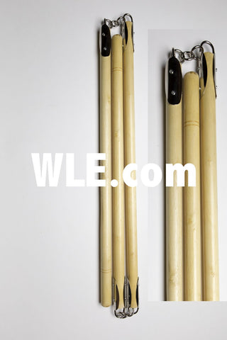 White Wax Wood Three-Section Staff