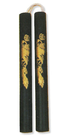 "Nunchaku Black Cord Rubber 12"" Chuck w/ Gold Dragon"