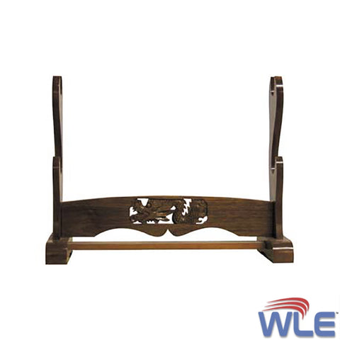 Walnut Two Swords Display Rack Stand with Carved Dragon