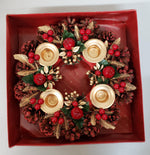 Advent Candle Pine Cone Berry Wreath