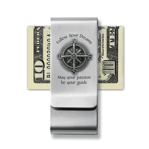 Follow Your Dreams Money Clip with Compass