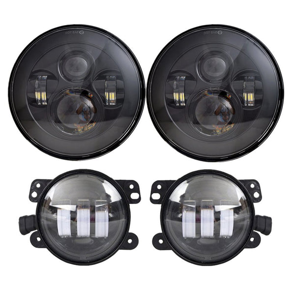 DOT Approved 7'' Black Daymaker LED Headlights + 4 ''Cree LED Fog Lights